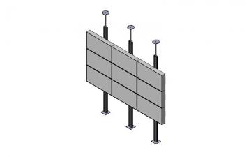Напольно-настенный стационарный каркас для видеостены